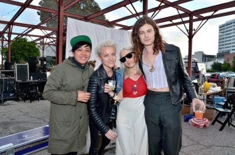 "LOS ANGELES, CA - APRIL 27:  (L-R) Guest, internet influencers Brittenelle Fredericks, Sara Dinkin, and musician Garrett Borns of BORNS attend Discover Los Angeles' ""Get Lost"" Pop-Up Concert at The Geffen Contemporary at MOCA on April 27, 2016 in West Hollywood, California.  (Photo by Charley Gallay/Getty Images for Los Angeles Tourism & Convention Board )"